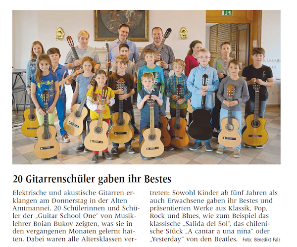 press about 20 guitar students
