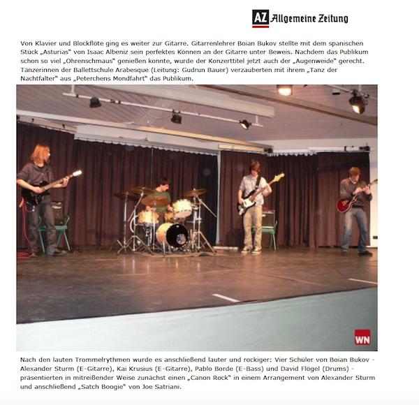 Presse über Guitar School One