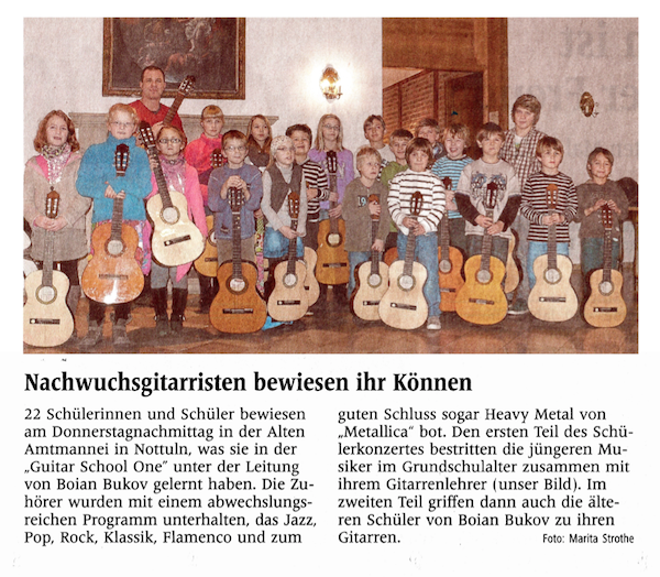 Press about concert with Guiatr School One students