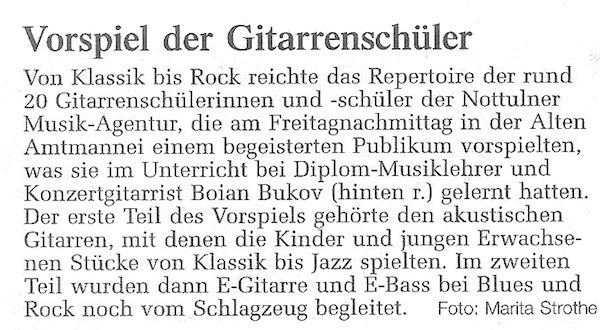 Press about guitar concert in Nottuln